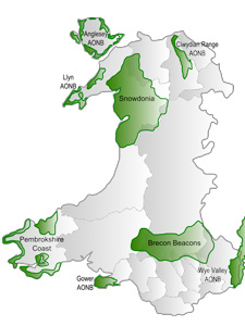 Map of AONBs and National Parks in Wales